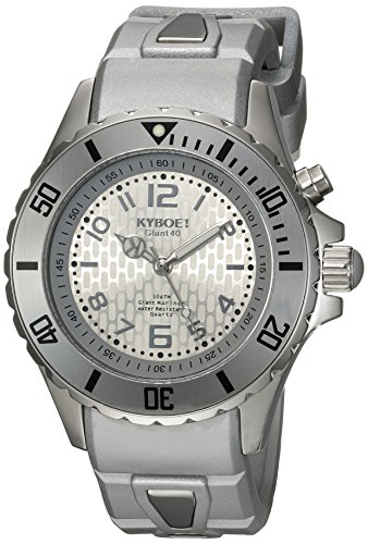 KYBOE! 'Power' Quartz Stainless Steel and Silicone Casual Watch, Color:Silver-Toned (Model: SC.40-001.15)