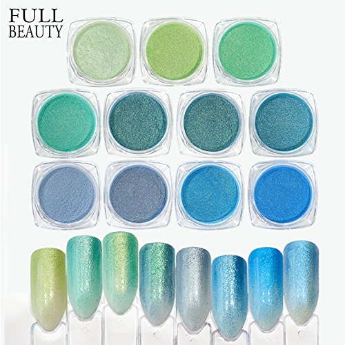 POYING Full Beauty 11 Colors Nail Glitter Mocha Gradient Nail Art Pigment Powder Dust Gel Polishing For Nails Decoration CHBJ11 by POYING