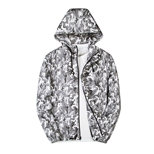 ght Hooded Camouflage Jackets Loose Casual Lightweight Coat (36/Large, Camouflage Gray) (Camo Zip Hood)