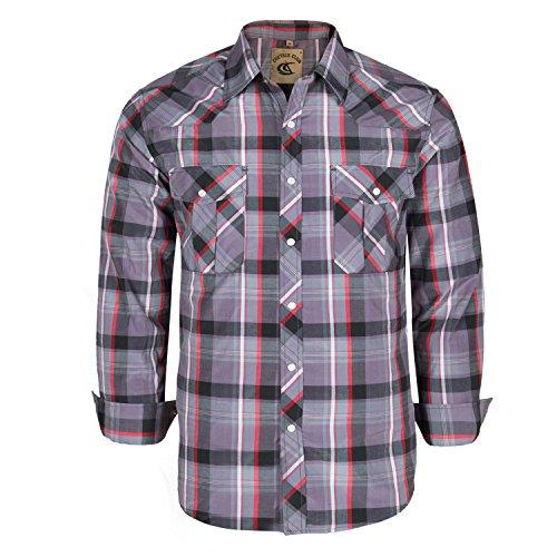 Coevals Club Men's Button Down Plaid Long Sleeve Work Casual Shirt (Red & Gray #23, XL)