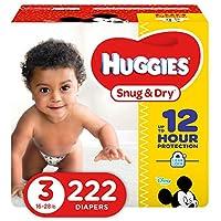 HUGGIES Pañales para bebés cómodos y secos, tamaño 3 (para 16-28 lbs.), Suministro para un mes (222 unidades), el empaque puede variar