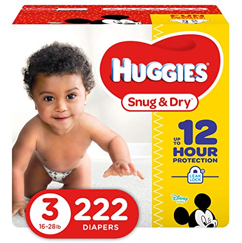 HUGGIES Snug & Dry Diapers, Size 3, for 16-28 lbs, One Month Supply (222 Count) of Baby Diapers, Packaging May...