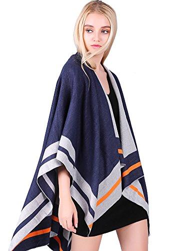 MissShorthair Womens Blanket Poncho Cape Oversized Reversible Stripe Shawl Wrap - Wrap Cardigan Oversized