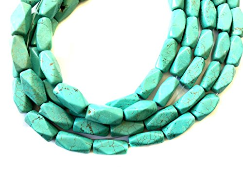 Fine Turquoise Nugget Faceted Gemstone beads Stone - beading supplies for jewelry making (Turquoise Faceted Nugget Beads)