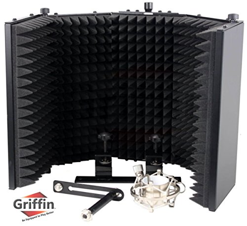Studio Microphone Soundproofing Acoustic Foam Panel by Griffin | Soundproof Filter | Sound Diffusion Mic Booth Shield | Insulation Diffuser|Noise Deadening/Absorbing/Barrier for Audio Music Recording ()