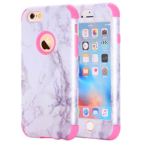 iPhone 6S /iPhone 6 Case, NOKEA [Marble Pattern] Three Layer Hybrid Heavy Duty Shockproof Protective Bumper Cover Soft Silicone Combo Hard PC Case for iPhone 6S /iPhone 6 (Rose)