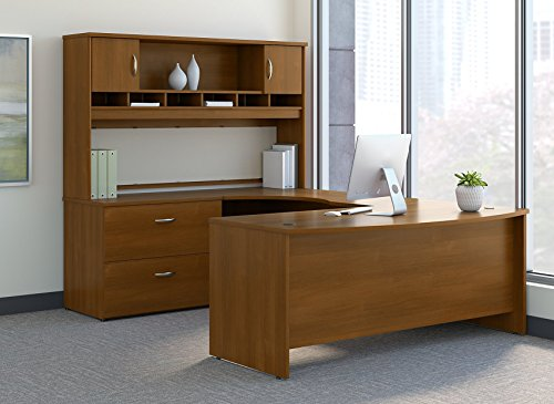 Front Desk Furniture - Bush Business Furniture SRC005WOLSU Series C 72W Left Handed Bow Front U Shaped Desk with Hutch and Storage, Warm Oak