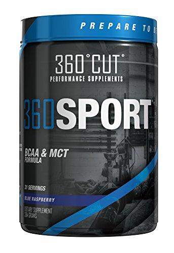 360CUT 360SPORT, facile de BCAA et toutes les formule d'huile MCT naturel, Framboise bleue, 384 grammes