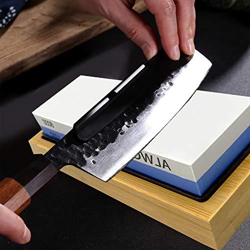 Sharp Pebble Whetstones Wood Carvers Sharpener-Dual Grit, Whetstone 1000/6000 - Bamboo Leather - Waterstone Knife Sharpener with Non Slip Bamboo Base