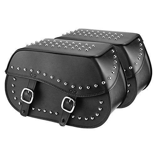 Leather Studded Motorcycle Saddlebags (Nomad USA Large Leather Throw-over Motorcycle Saddlebags (Studded))