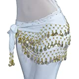 Lilyy Chiffon Dangling Gold Coins Belly Dance Hip Skirt Scarf Wrap Belt (H-White, Gold Coin)