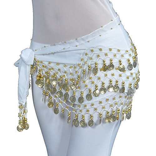 Lilyy Chiffon Dangling Gold Coins Belly Dance Hip Skirt Scarf Wrap Belt (H-White, Gold Coin) ()