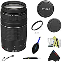Canon EF 75-300mm f/4-5.6 III Lens + Pixi-Basic Accessory Bundle