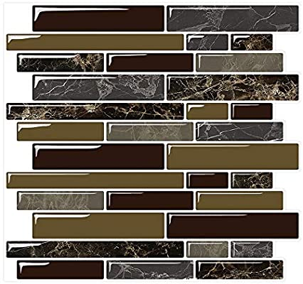 Yipscazo Peel And Stick Backsplash Tile For Kitchen Kitchen Backsplash Peel And Stick In Dark Brown 5 Sheets 10 X10 Amazon Sg Home