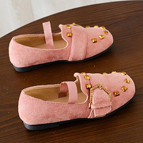 Jamicy® Kleinkind Kinder Mädchen Baby Mode Gummisohle Rivet Princess Dance Leder Casual Einzelne Schuhe Rosa