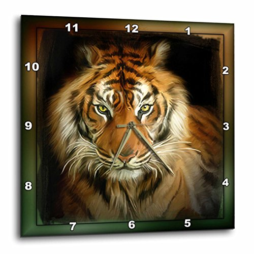3dRose dpp_41377_3 Portrait of a Tiger Wall Clock, 15 by (Tiger Wall Mirror)