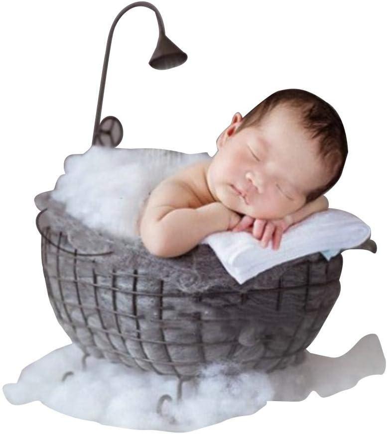 Cesta de Hierro para bañera, Accesorios para fotografía de bebé recién Nacido Canasta de Cama fotografía de bañera de Luna Llena Accesorios de bañera pequeña de Hierro Forjado bebé niño niña