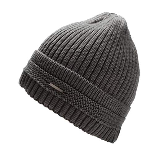 LLmoway Men Winter Warm Hat Soft Thick Knit Cuff Cable Beanie Cotton Lined Snow Ski Skull Cap Grey ()