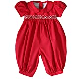 Abigail Red Christmas Smocked Girls Long Bubble Overall