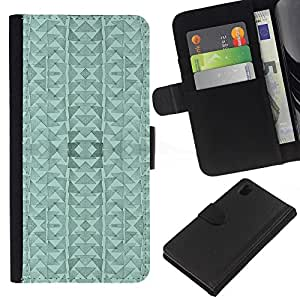BearCase / Cuero de la tarjeta la carpeta del tirón Smartphone Slots Protección Holder /// Sony Xperia Z1 L39 /// Triángulo del Arte abstracto moderno