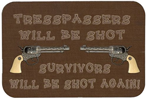 24 by 36 Carolines Treasures SB3063JCMTTrespassers Will Be Shot Kitchen or Bath Mat Multicolor
