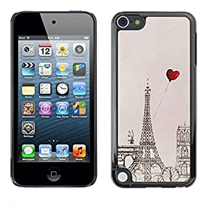FECELL CITY // Duro Aluminio Pegatina PC Caso decorativo Funda Carcasa de Protección para Apple iPod Touch 5 // Heart Love Eifel Tower Drawing