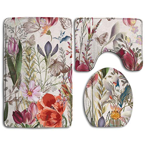 Hucuery Customized Retro Avant Garde Style Bouquet Fashion Bathroom Carpet Cushion Set 3 Anti-Skid Cushion Bath Cushion + Contour + Toilet Cover from Hucuery
