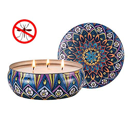 Hausware Citronella Candles Outdoor and Indoor Scented Candles Soy Wax 3 Wick Tin Lemongrass Candle