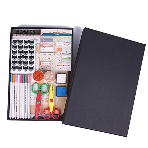 - Scrapbook Photo Album with 8 Metallic Colorful Pen DIY 2 Scissors 2 Stamps 2 Inkpads 2 Templates 4 Corner Stickers 1 Stiker 1 Cardboard Book for Baby Family Memory Gift