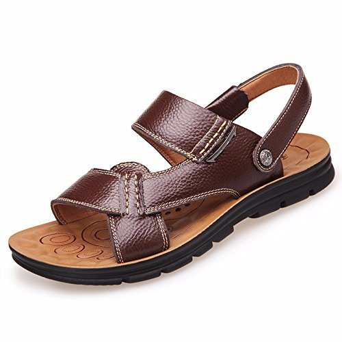 Uomini sandali Uomini vera pelle Il nuovo Spiaggia scarpa gioventù estate tendenza alunno sandali Tempo libero scarpa ,Marrone ,US=10,UK=9.5,EU=44,CN=46