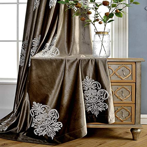 VOGOL Soft Flannel Vintage Floral Embroidered Grommet Curtain