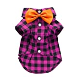 Charming Casual Dog Plaid Shirt Gentle Dog Western Shirt Dog Clothes Cat Shirt + Dog Tie Free Shipping,Rose,S, My Pet Supplies