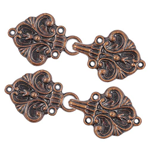 Bezelry 4 Pairs Fleur De Lis Cape or Cloak Clasp Fasteners. 70mm x 26mm. Fastened. Sew On Hooks and Eyes Cardigan Clip (Antique Copper)