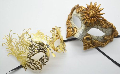 Roman Greek God and Sun Goddess Set - His & Hers Elegant Phantom Masquerade Masks [Antique Gold Themed] - New Year's Eve, Mardi Gras Theater]()
