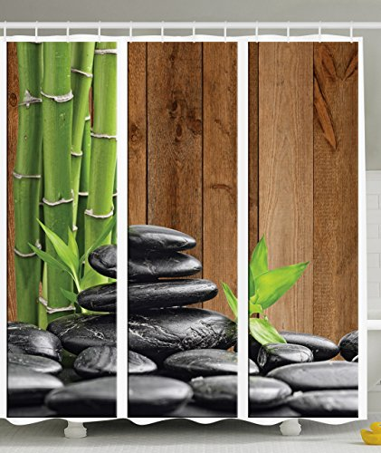 Ambesonne Art Decor Collection, Spa Zen Basalt Stones And Bamboo Trees  Picture Print, Polyester