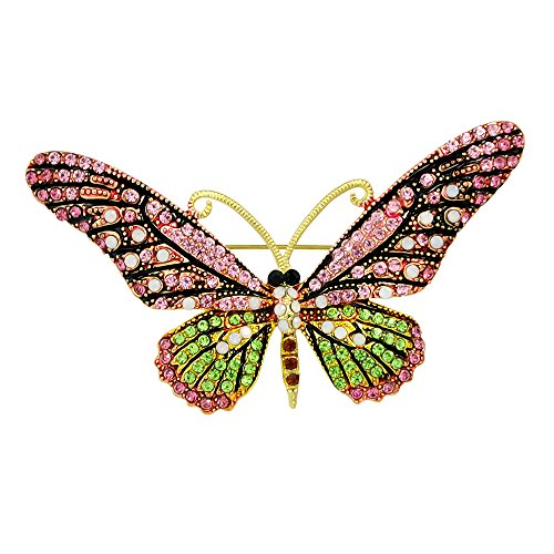 (Joji Boutique Large Golden Butterfly Pin/Brooch with Pink and Green Crystals)