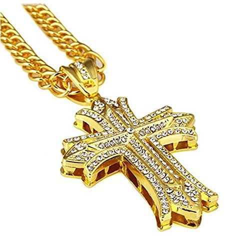 JAJAFOOK Mens Hip Hop 18k Gold Plated Silver Textured Pendant Necklace Cross Chain