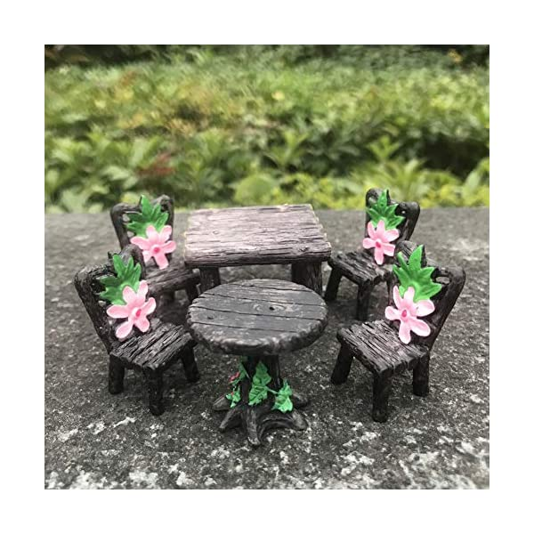 6 pieces miniature table and chairs set fairy garden furniture ornaments kit for dollhouse accessories home micro landscape decoration 6 pcs table and chairs set