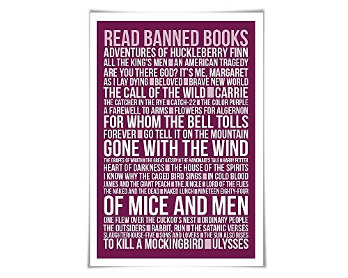 Read Banned Books Library Poster Literary Art Print. 60 Colours/3 Sizes. Reader English Teacher Gift (Reader Poster)