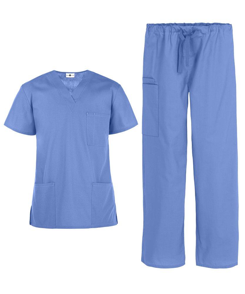 Men's Medical Uniform Scrub Set – Includes 3 Pocket V-Neck Top Drawstring Pant (XS-3X, 14 Colors) (Large, Ceil)