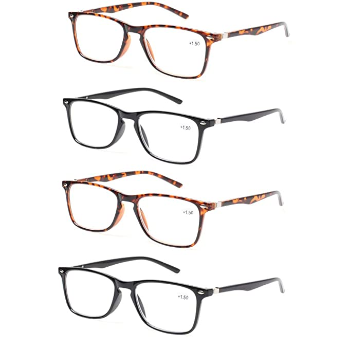 e685236caac6 Reading Glasses Set of 4 Great Value Spring Hinge Black and Tortoise Color Readers  Men and