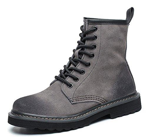 Honeystore Damen Schnür Stiefeletten Warm gefütterte Combat Boots Leder Winter Stiefel Schuhe Grau