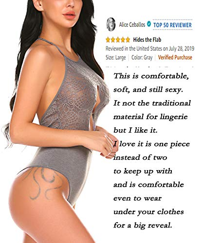 wearella Women Snap Crotch Lingerie Sexy Lace Bodysuit Thong One Piece Lace Baby Dolls Teddy Sleepwear Gray