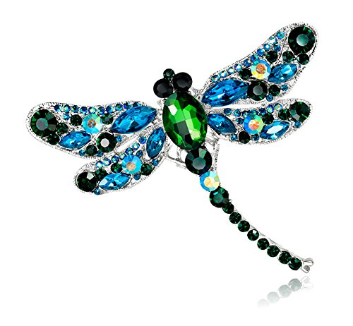 Coco Ribbon Dragonfly Brooch Vintage Style Crystal Bridal Brooches Designer Jewelry Pin (Green/Blue/Silver)