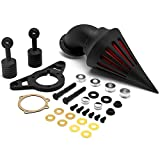 Krator Harley Davidson Softail Night Train Fat Boy Dyna Super Glide Low Rider Wide Glide Touring Road King Road Glide Black Aluminum Cone Spike Air Cleaner Kit Intake Filter Motorcycle (2001-2009)