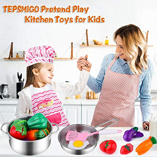 TEPSMIGO Kids Kitchen Pretend Play Toys, Kitchen Playset Cooking Toys Set with Stainless Steel Cooking Utensils, Cookware Pots and Pans Set, Cutting Vegetables, Knife and Apron for Kids Toddlers Girls