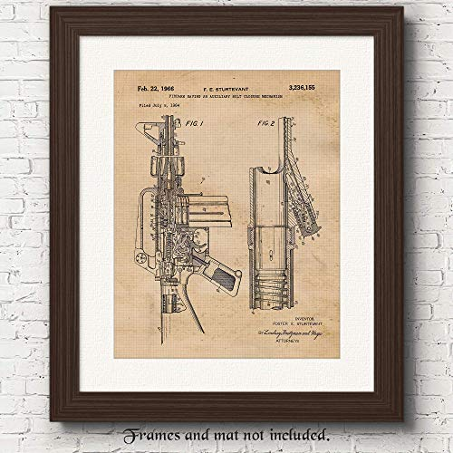 Original Rifle Patent Art Poster Print - 11x14 Unframed - Great Wall Art Decor Blueprints Gift for Outdoorsman, Man Cave, Garage, Mountain Lodge Cabin, Club House, Big Boy's Room from Stars Arts