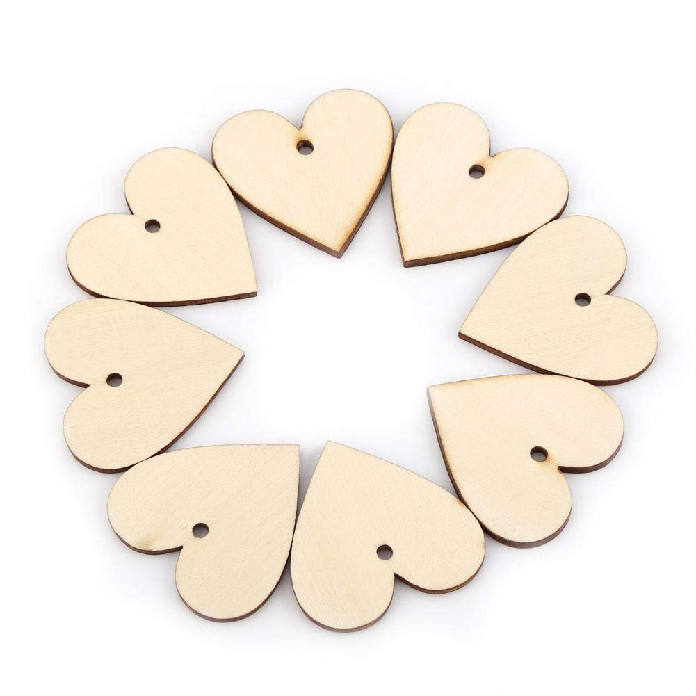 Wood Heart Cutout Shape Slices Wooden Name Tags with Holes Wedding Guestbook Signin Party Guest Greetings DIY Crafts 4cm*25pcs