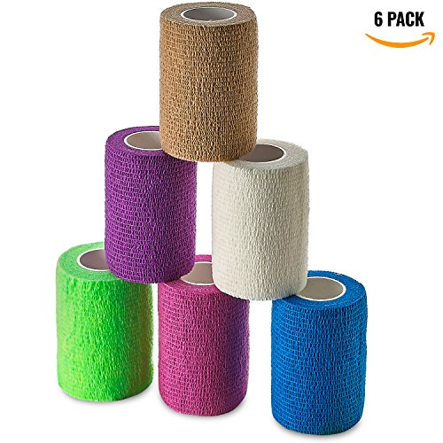 (Self Adherent Wrap - Bulk Pack of 6, Athletic Tape Rolls and Sports Wraps, Self Cohesive Non-Woven Adhesive Bandage (3 In x 5 Yards) FDA Approved for Ankle Sprains & Swelling)