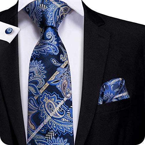 (Hi-Tie Men Navy Blue Gold Paisley Floral Tie Necktie with Cufflinks and Pocket Square Tie)